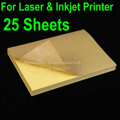 25 Sheets A4 Kraft Label Sticker Brown adhesive Paper For Laser /& Inkjet Printer