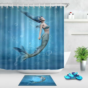 Image Is Loading Blue Ocean Mermaid Fabric Shower Curtain Set 71X71
