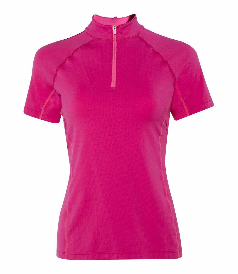 Noble Equestrian Ashley Short Sleeve Performance Shirt-L-Dragon Fruit