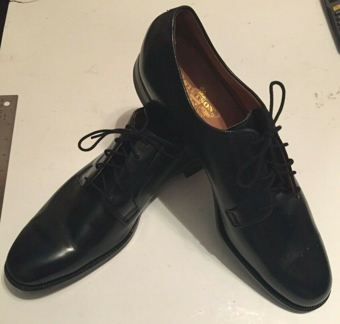STETSON Old Masters Vintage nero nero nero Plain Toe Dress scarpe-Never Worn  15 1 2 3 A A 8ab491