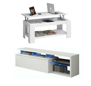 Details About Clearance Modern White Living Room Set Tv Cabinet Unit Blue Led Coffee Table