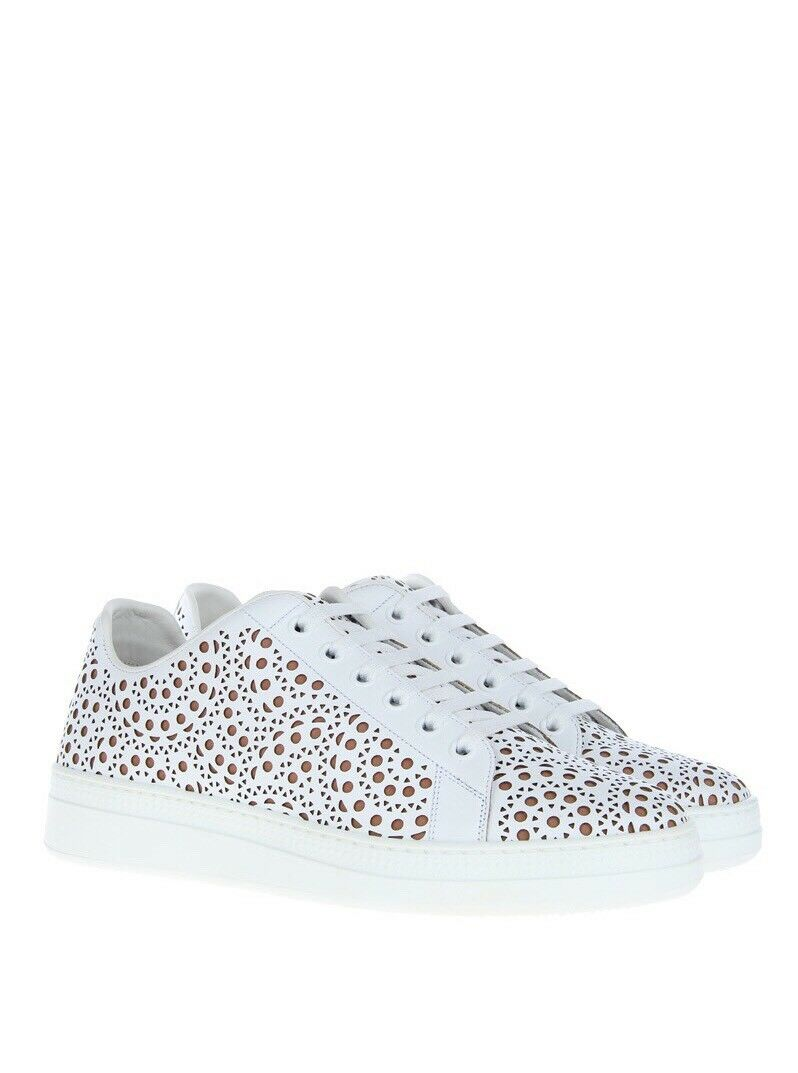 New Alaia White Leather Laser Cut Low-Top Lace Up Sneakers Sneakers Sneakers 41 10.5  995.00 008cea