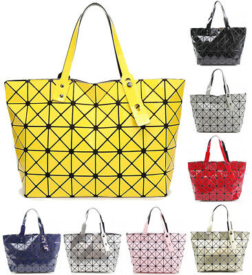 Womens Prism Glossy Metallic Geometric Handbag Tote Hobo Shopper Shoulder Bag UK