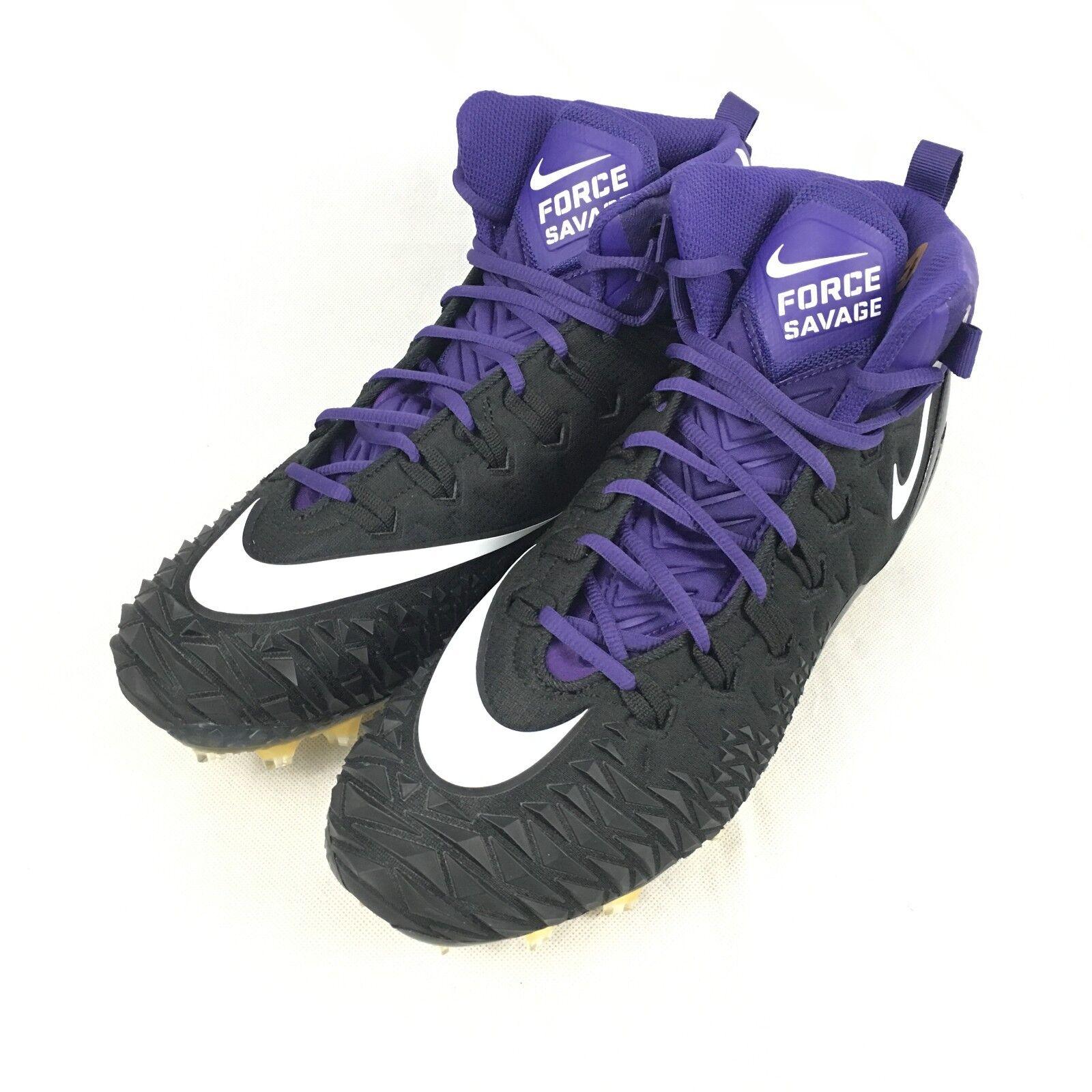 Nike Force Savage Pro TD Uomo Football Cleats Size 12 Purple Nero 918346-015