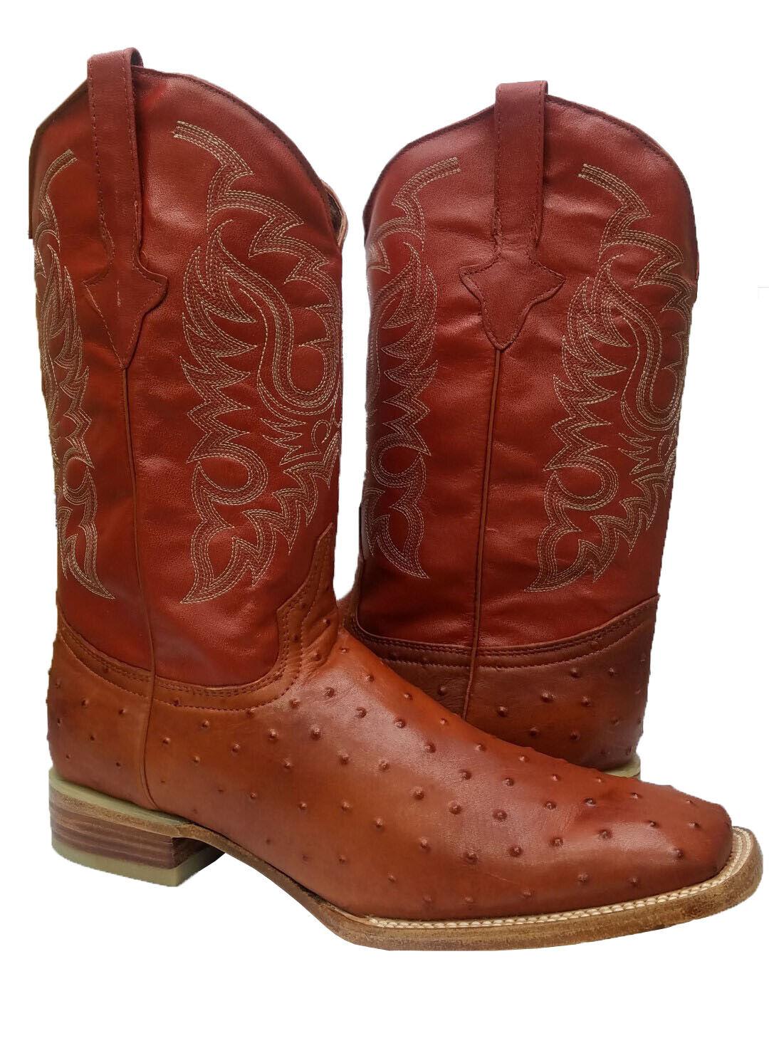 Para hombres Cuero Coñac Avestruz Pluma Patrón Vestido de dedo del pie cuadrado botas de vaquero occidental