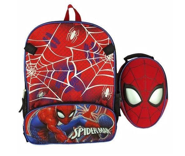Kids Marvel Spider-man Character School Bag Backpack   Lunchbox 2pcs Set  for sale online  65bcfae41136f