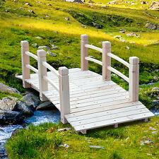 Wooden Bridge 5' Decorative Solid Fir Garden Pond Arch Walkway Path Structure