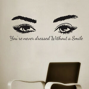 Details About Beautiful Female Big Eyes Art Eyes Lashes Stickers Decor  Quote Vinyl Wall Decal