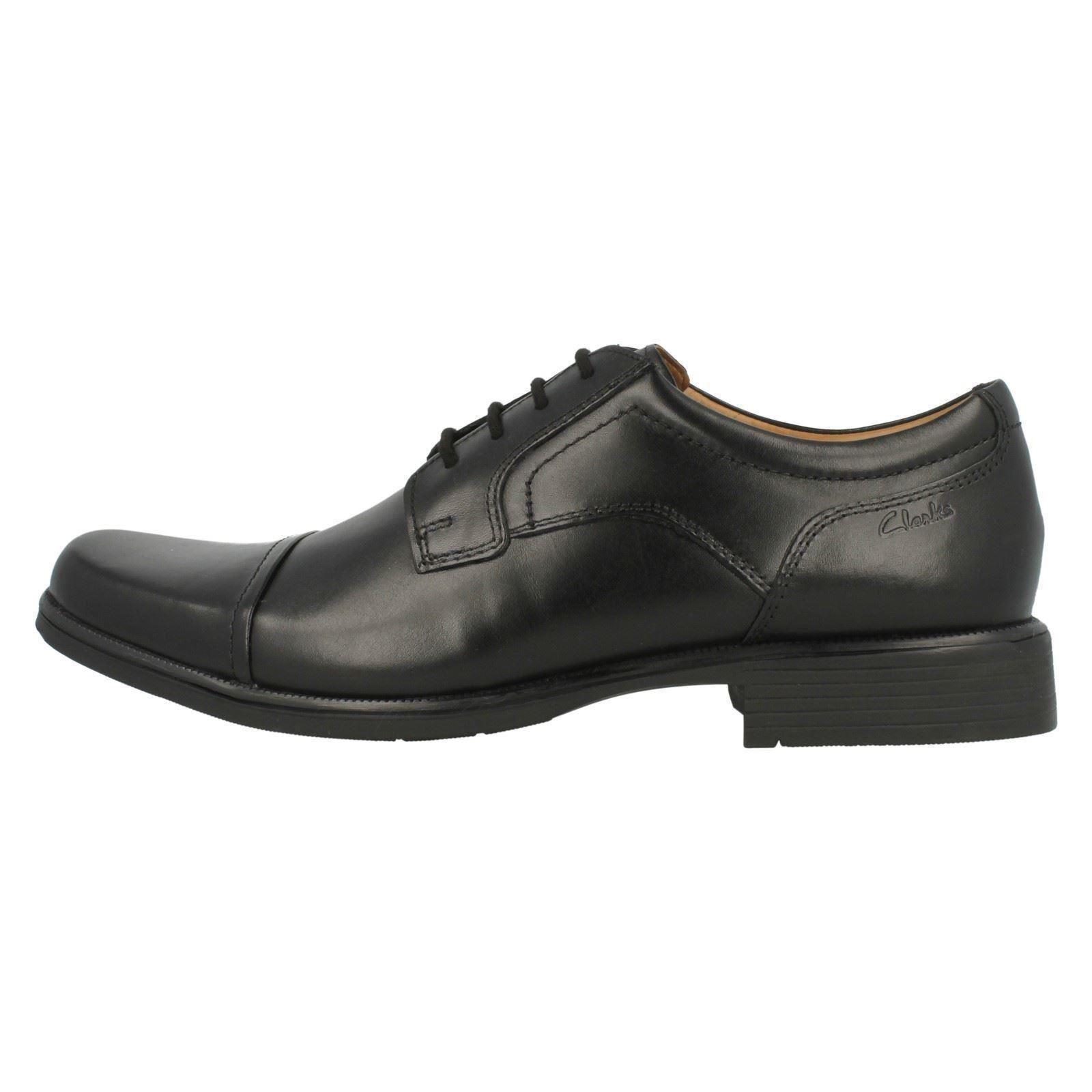 Hombre Clarks Negro Leather Zapatos Con Cordones Cordones Cordones Ajuste G huckley gorra 55e8fc