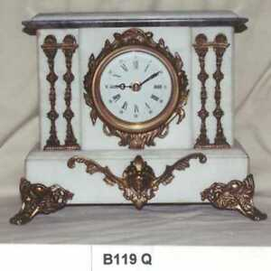 White Marble Clock,French Period,Mantle