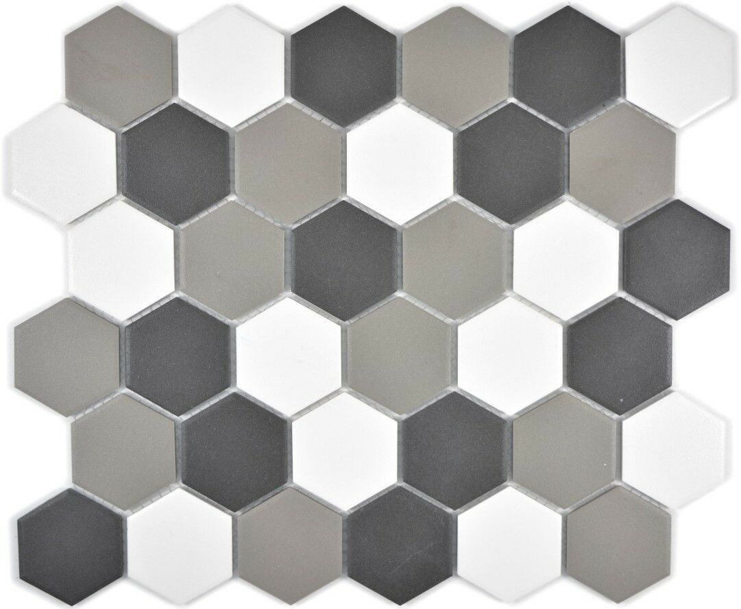 Mosaik Fliese Keramik Hexagon weiß grau schwarz unglas. 11B-0123-R10_f 10 Matten