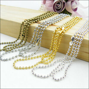 4Strands Ball Chain Necklace 1.5mm Beads W//Connector 70cm Colours