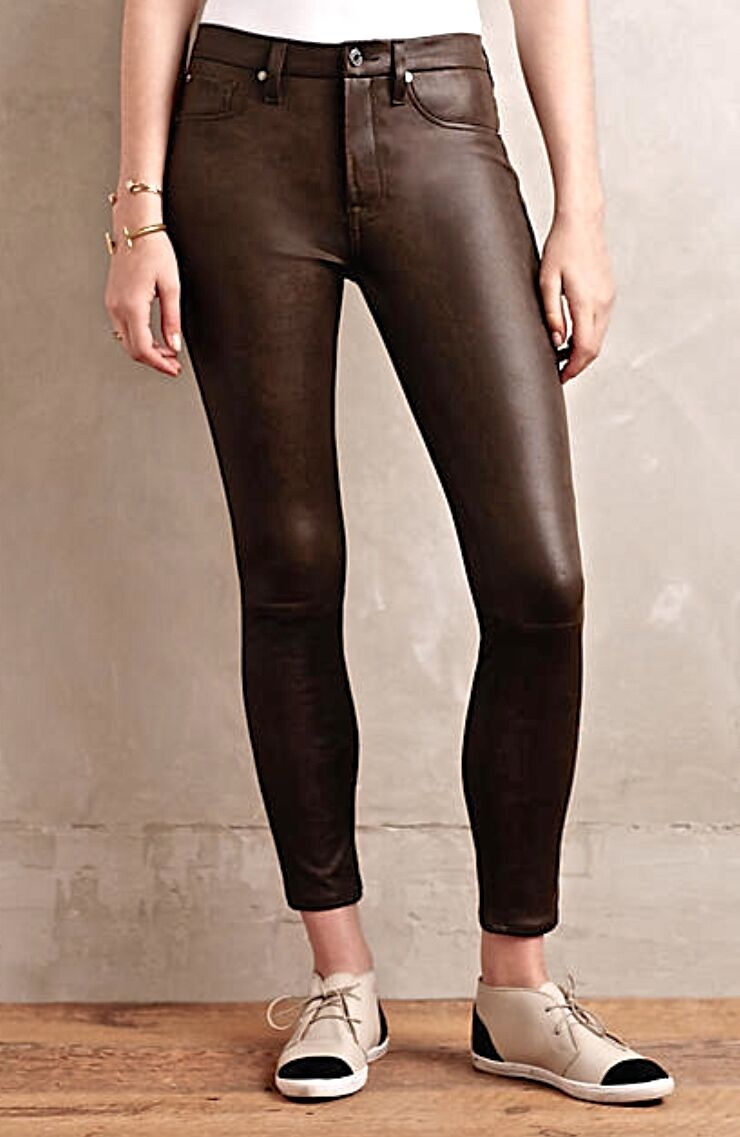 NEW Seven 7 For All Mankind brown Coated Bought at Free People Skinny Jeans 32
