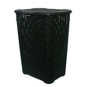 60L-Large-Rattan-Plastic-Laundry-Bin-Washing-Bin-Multi-Storage-Basket-Box-Black