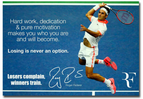 "Roger Federer Motivational Quote Fridge Magnet Size 3.5/"" x 2.5/"""