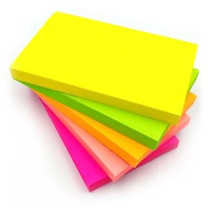 4 x Neon Self Sticky Post Notes Rectangular 76mm x 127mm Pads 4 Assorted Colour