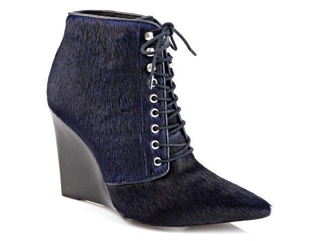 Buffalo Damen Keil-Stiefeletten Felloptik dunkelblau 40 Neu 306X-055 H-8850