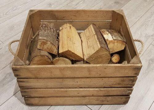 FIRE WOOD STORAGE FIREPLACE KINDLING BOX  Old Wooden Apple Crate LOG BASKET