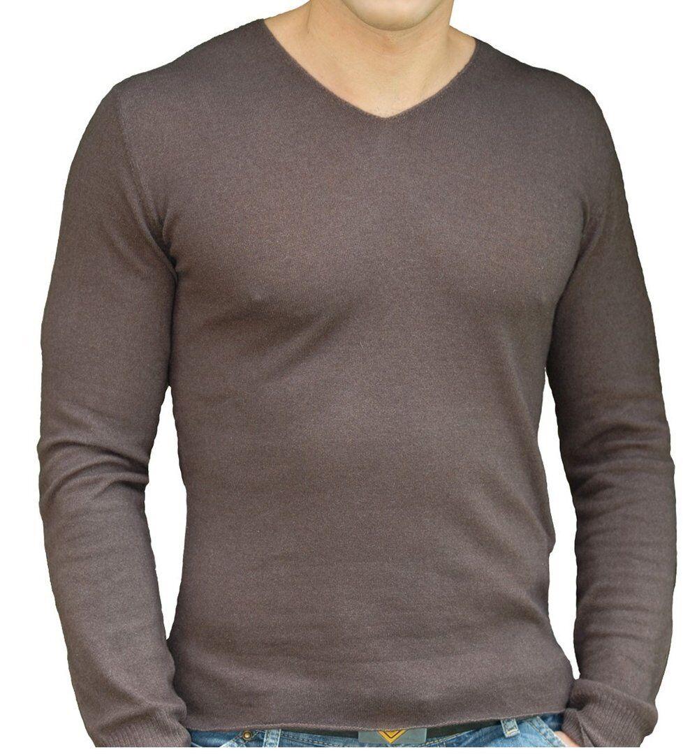 Balldiri 100% Cashmere Duvet Herren Pullover V-Ausschnitt maskulin Braunies S