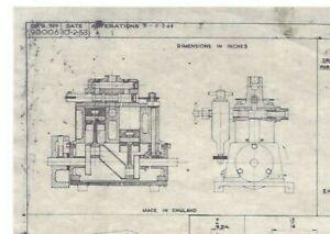 "🌎 1953 STUART TURNER LTD ""SUN"" LIVE STEAM MARINE ENGINE DRAWING AND PARTS LIST."