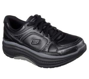 Slip-Resistant-Black-Skechers-Shoes-Women-Work-Memory-Foam-77218-Rocker-EHHazard