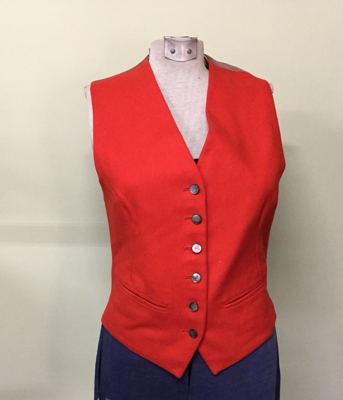 1950's HALL BrossoHERS Ltd Oxford Wool Ladies Riding Equestrain Waistcoat Vest rosso