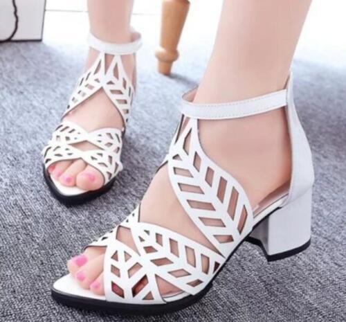 Femmes Bout Ouvert Creux Sandales à Semelle Compensée Talon Moyen Strass Robe Chaussures plus Sz