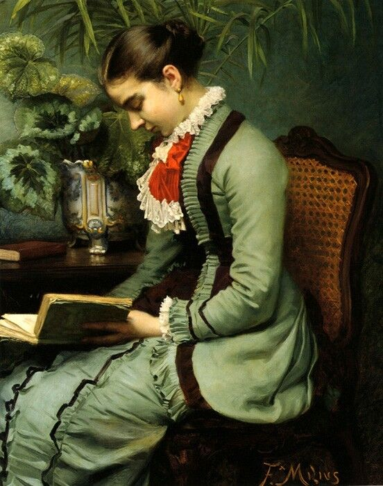 LADY WOMAN AN AFTERNOON READING A BOOK BY PAINTER FELIX AUGUSTIN MILIUS REPRO