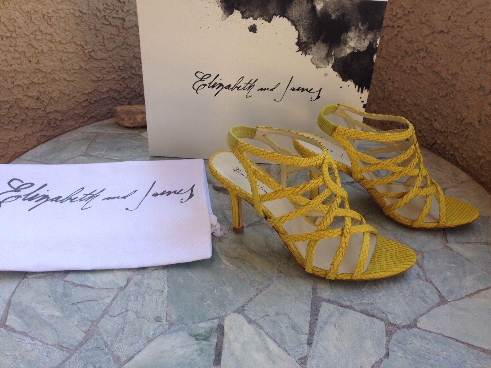 NIB Elizabeth And James Kayla Snakeskin Leder Strappy Yellow 9 Sandales Sz 9 Yellow 339 44e0c0