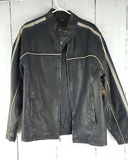NWT ARIZONA MEN'S FAUX LEATHER MOTORCYCLE JACKET BLACK STRIPE M