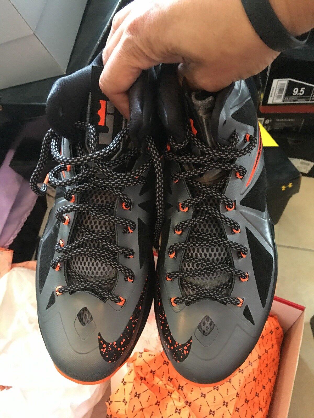 nike lebron x basketball orange-black holzkohle / gesamt männer orange-black basketball größe 9. 450892