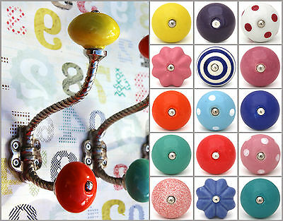 Shabby chic vintage silver coat hooks pegs with choice of bright ceramic knobs