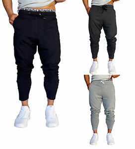 eee66e32 Mens Cotton Trackies Skinny leg tapered Slim Joggers Pants cuff Gym ...