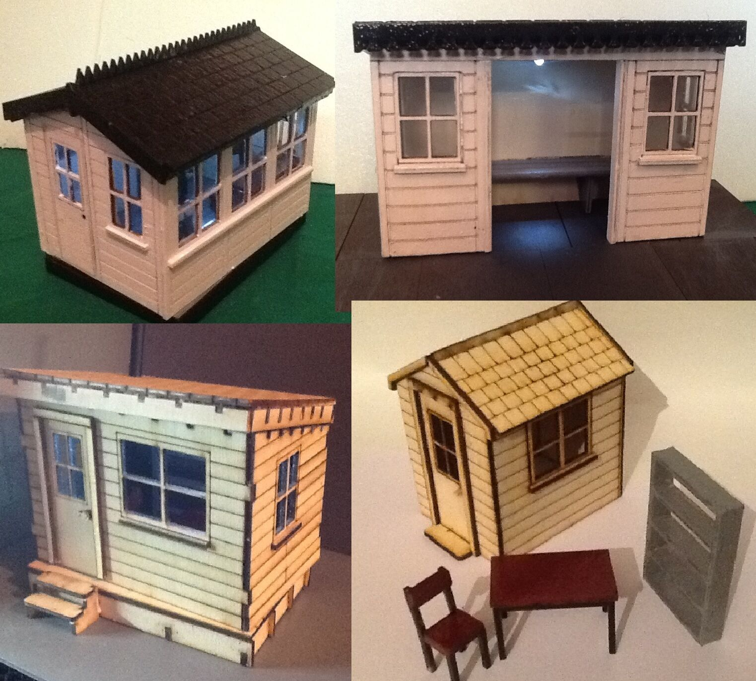 FOUR BUILDINGS FOR GARDEN RAILWAY 16MM SCALE. COMPLETE KITS.G SCALE