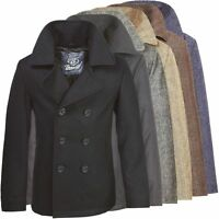 Brandit Herren Pea Coat 3109 Mantel Wollmantel Kurzmantel Winter Sakko Marine
