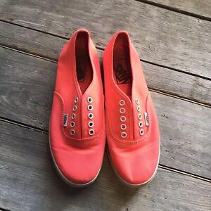 Neon-Pink-Orange-Vans-Canvas-Shoes-Women-s-6-5
