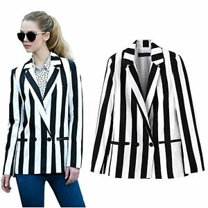 Women Cosplay Costume Black White Striped Leisure Blazers Jacket Suit Outwear Ebay
