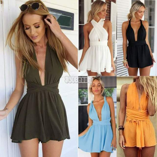 Ladies Womens Chiffon V neck Backless Jumpsuit Romper Sexy Playsuit Party Dress
