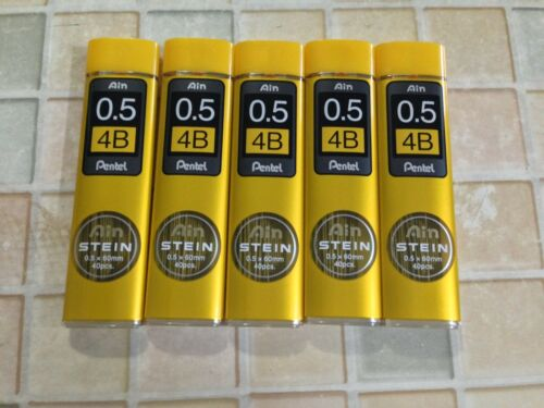 "Pentel /""Ain STEIN/"" pencil lead 4B 0.5mm x 40pcs x 60mm 10 tubes in a box"
