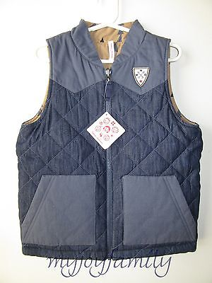 HANNA ANDERSSON Camp Reversible Quilted Vest Chambray Treehouse 140 10 NWT