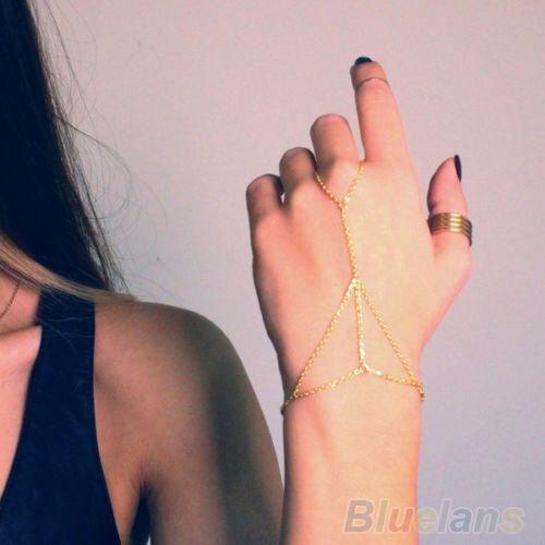 Punk Interweave Slave Chain Bracelet Bangle Harness Hand Chain Finger Ring B52U