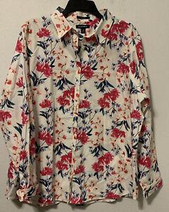 Lands-End-Sz-18-Shirt-Floral-No-Iron-Supima-Cotton-Long-Sleeve-Plus-Size-Top