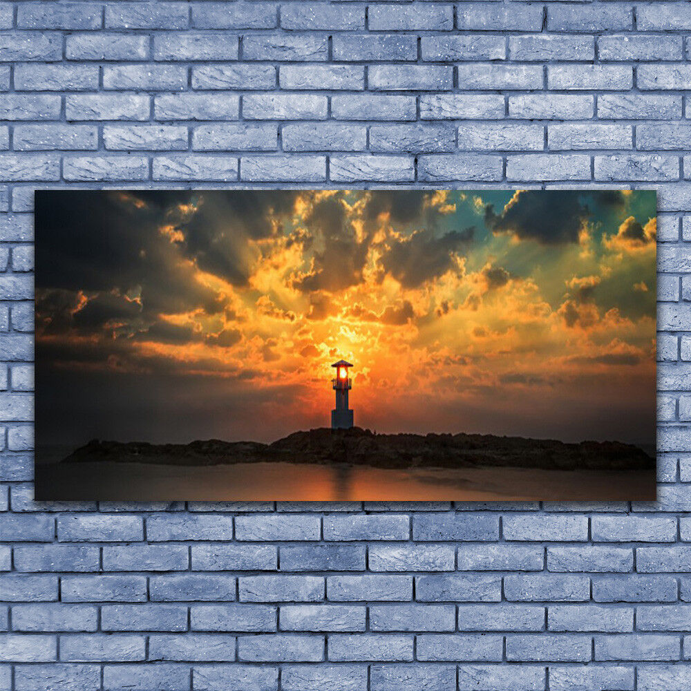 Glass print Wall art 140x70 140x70 140x70 Image Picture Lighthouse Sea Landscape 8959c4