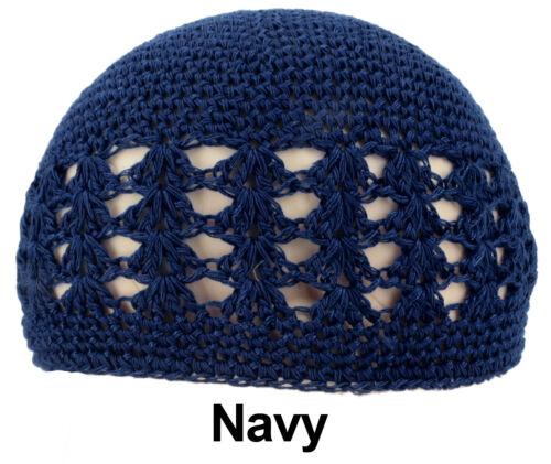 KUFI Crochet Beanie Skull Cap Knit Hat Muslim Islamic Prayer New 100/% Cotton