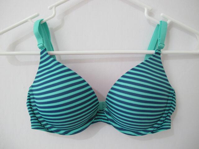 f04f1872a3 NIP Victoria s Secret PINK Mint Blue Striped Wear Everywhere Push Up Bra ...