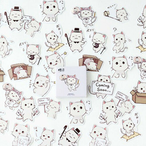 45 Pcs Kawaii Stationery Stickers Cat Stickers Diary Albums Label DIY Decoration