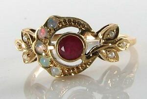 LOVELY-9CT-9K-GOLD-SUN-MOON-CREST-INDIAN-RUBY-OPAL-amp-PEARL-ART-DECO-INS-RING