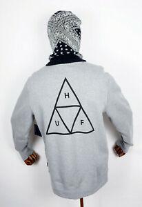 Huf-Worldwide-Sweatshirt-Crewneck-Hoodie-Crew-Triple-Triangle-Grey-Heather-in-M