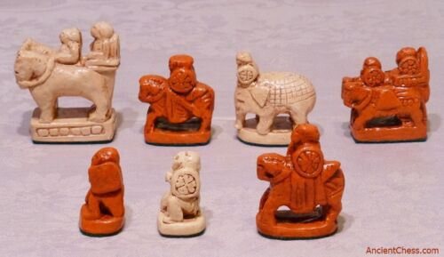 AFRASIAB REPRODUCTION OF FULL SET 700 AD OLDEST CHESS MEN EVER DISCOVERED C