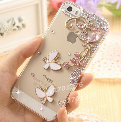 NEW Bling crystal Diamonds Pink butterfly dragonfly hard back Case Cover Skin #7